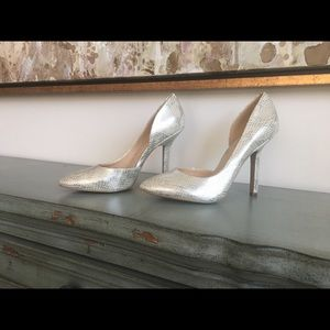 BCBG Pointed Pumps- Silver Iridescent Snakeskin